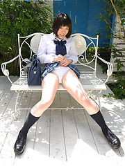 Japanese schoolgirl Kaori posing outdoor after lessons