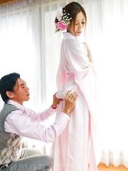 Kaori Maeda Asian dressed like a Geisha sucks dick and is fucked