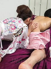 Reon Otowa Asian is undressed of kimono while sucking shlong