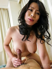 Rei Kitajima gets tongue on hairy labia and dick between them