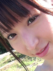 The thrill of being nude outdoors and having her perfect a-cup breasts massaged in public was almost too exciting for this Japanese cutie to handle.