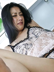 Pretty Japanese honey Ishiguro Kyoka toyed in white lingerie