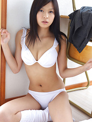 Rina Toiro Asian has big cans and firm ass in white lingerie
