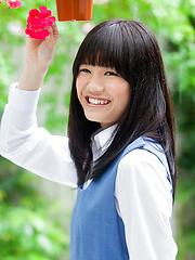 Ai Eikura Asian is shy but shows nasty ass under uniform outdoor