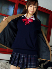 Hikari Yamaguchi Asian in uniform and coat wants to share choco