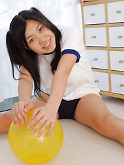 Miho Takai Asian in sports outfit is sexy while playing with ball