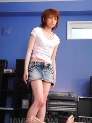 Rei Sasaki Asian doll takes clothes off and swallows phallus