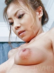 Rei Serizawa Asian shows pussy full of cum after is fucked a lot