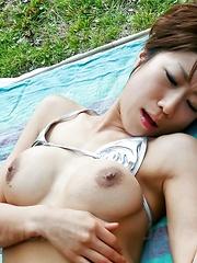 Misato Sakurai Asian is recorded on camera having cunt fondled