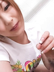 Miku Airi Asian in t-shirt sucks and licks cock till gets sperm