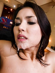 Maria Ozawa Asian gets vibrators on boobs and sperm on mouth