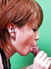 Kaoru Amamiya Asian gives blowjob and takes dick between boobs