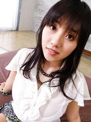 Azusa Nagasawa Asian with big boobs sucks dong while is pumped