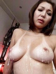 Mai Kuroki Asian gets vibrators in cunt and cum on bazoom bas