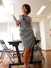 Sexy Japanese office lady Tsubaki posing
