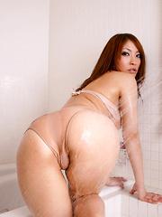 Rika Hoshimi Asian with oiled body has big boobs in tight bra